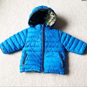 Gap 12-18m Camouflage Blue Reversible Puffer Coat